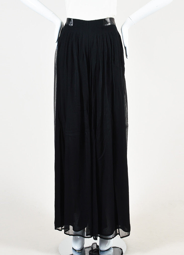 Rag & Bone Black Silk and Leather Sheer Wide Leg Trousers Pants Frontview