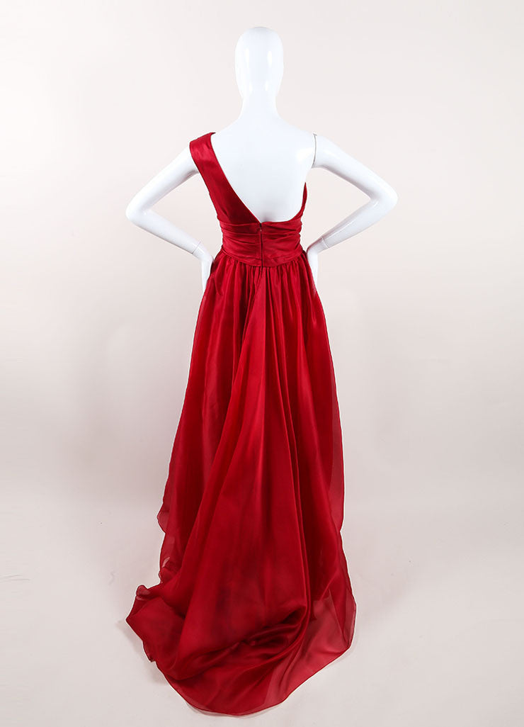 Marchesa Red Silk One Shoulder Draped Full Gown Backview
