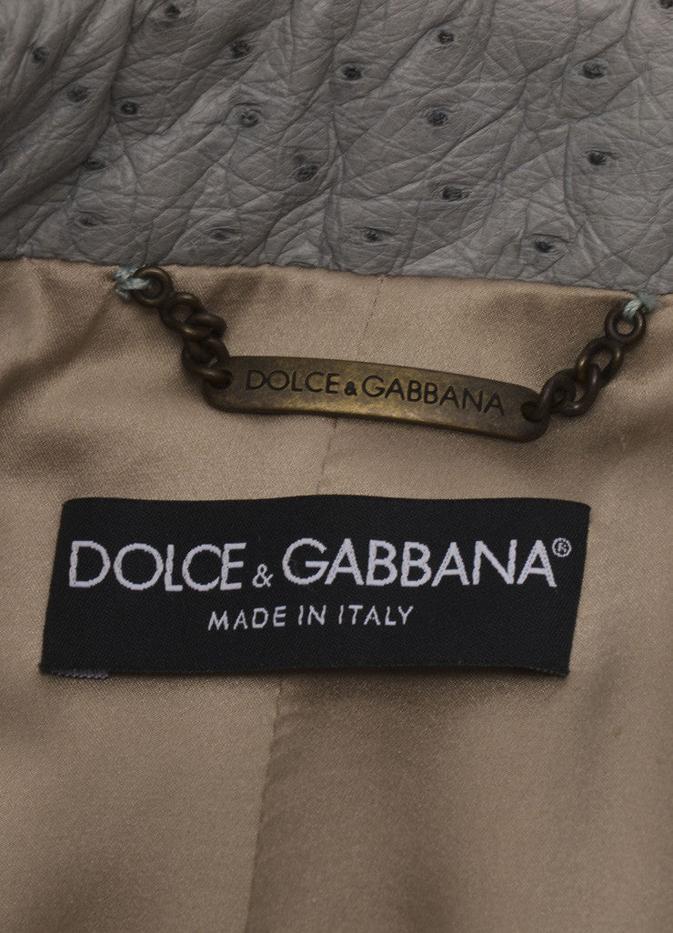 Dolce & Gabbana New With Tags Blue Ostrich Leather Button Detail Military Jacket Brand