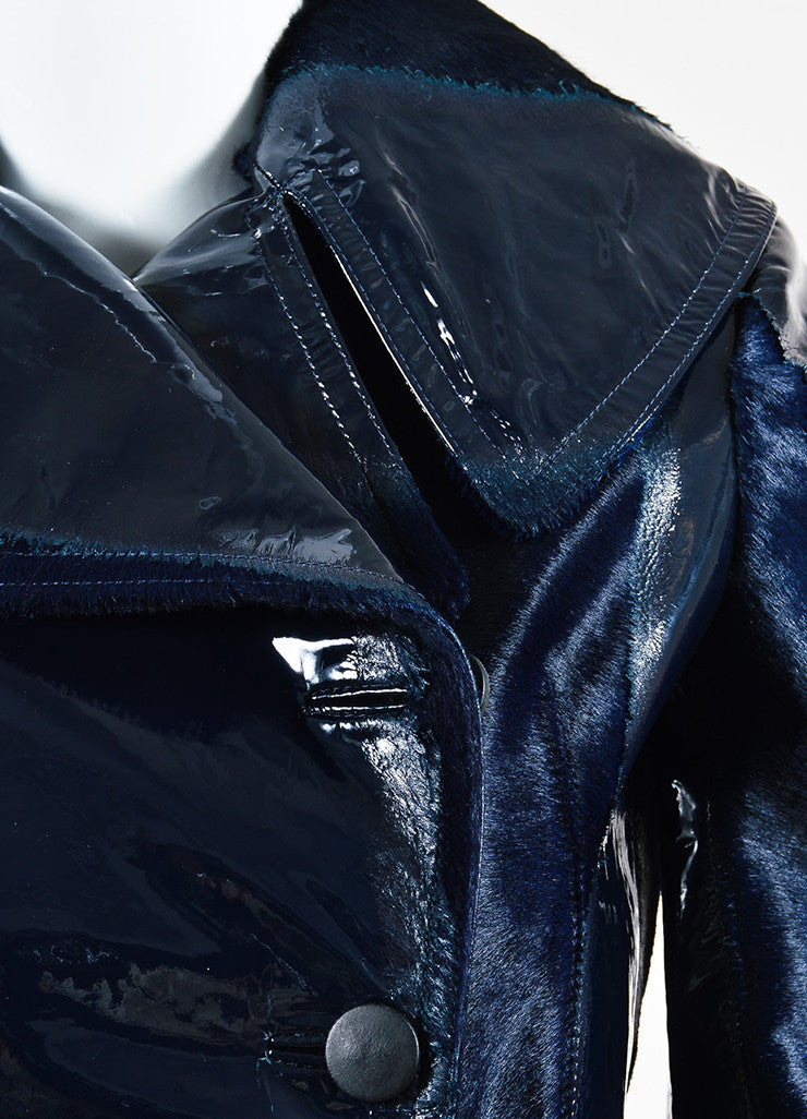Navy Blue Alaia Patent Leather and Pony Hair Burnout Trench Coat Detail