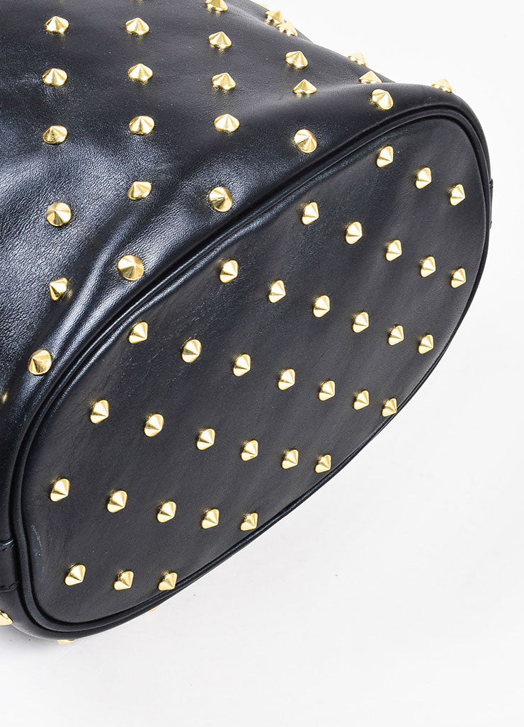 Alexander McQueen Black Leather Gold Toned Studded Skull Padlock Bucket Bag Bottom View