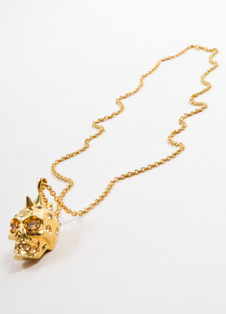 Alexander McQueen Gold Toned Chain Link Rhinestone Skull Pendant Necklace Sideview