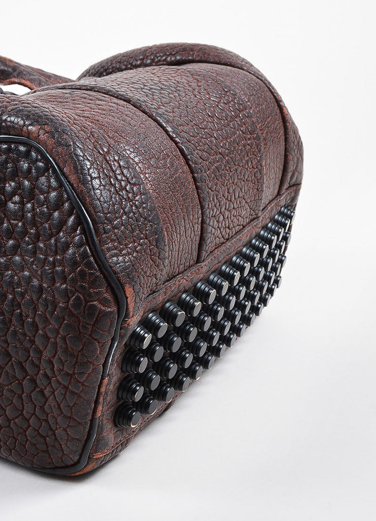 """Raisin"" Maroon Alexander Wang Leather Matte Black Studded ""Rockie"" Duffel Bag Bottom View"