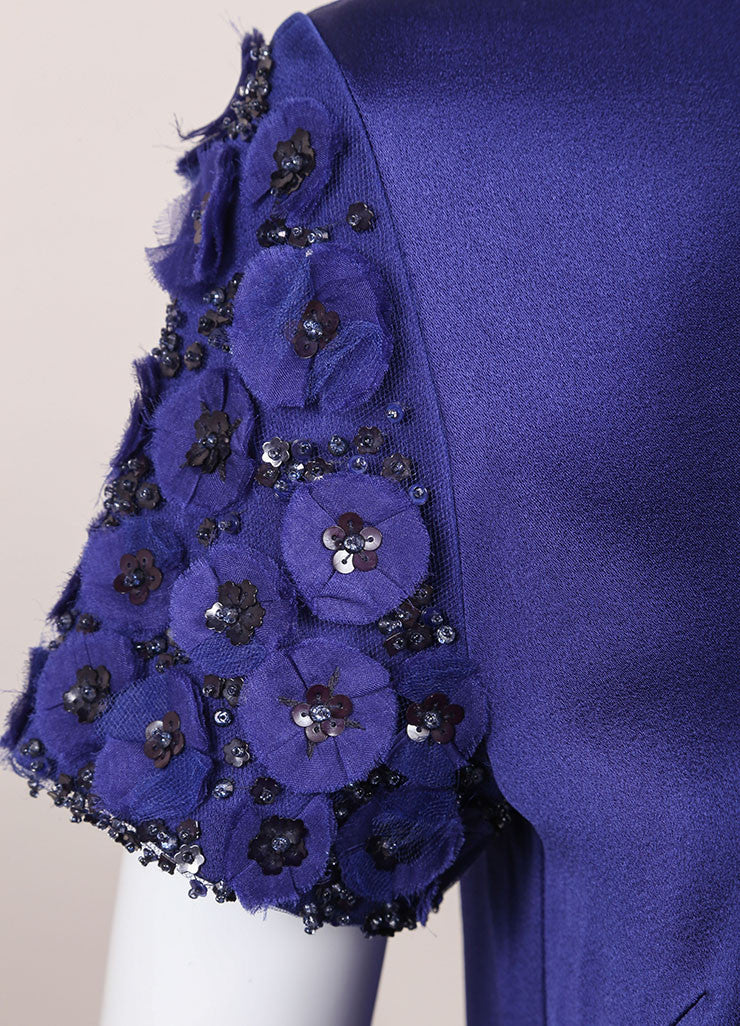 Andrew Gn New With Tags Blue Floral Applique Sequin Embellished Top Detail
