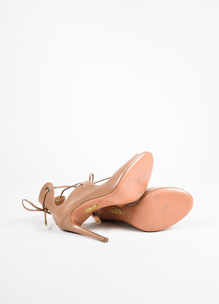 "Aquazzura ""Biscotto"" Taupe Leather Lace Up Peep Toe ""Tango"" Sandals Outsoles"