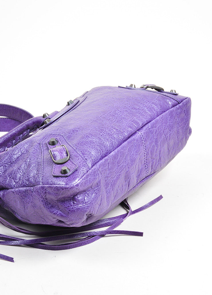 "Purple Balenciaga Leather ""Classic Town"" Moto Bag Bottom"