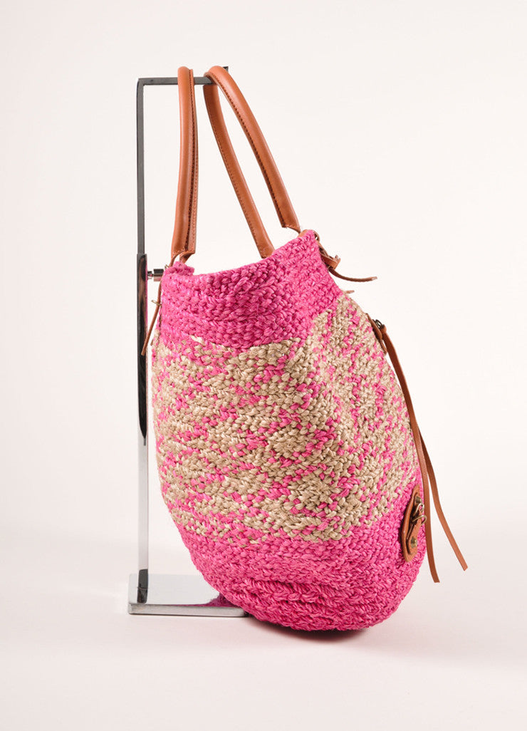 Balenciaga New With Tags Pink and Beige Woven Raffia Leather Trim Tote Bag Sideview