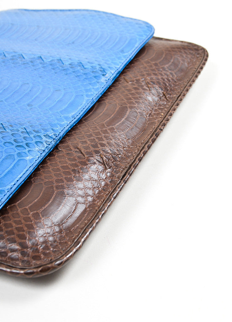 Brown and Blue Bottega Veneta Embossed Leather Frame Envelope Clutch Bag Bottom View
