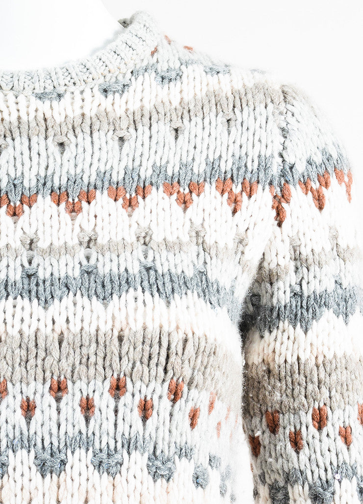 Brunello Cucinelli Grey and Cream Cashmere Chunky Knit Fair Isle Sweater Detail