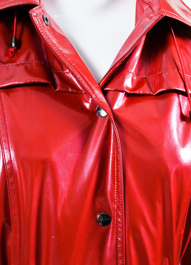 "Burberry London Red Lacquered Belted ""Backworth"" Trench Coat Detail"