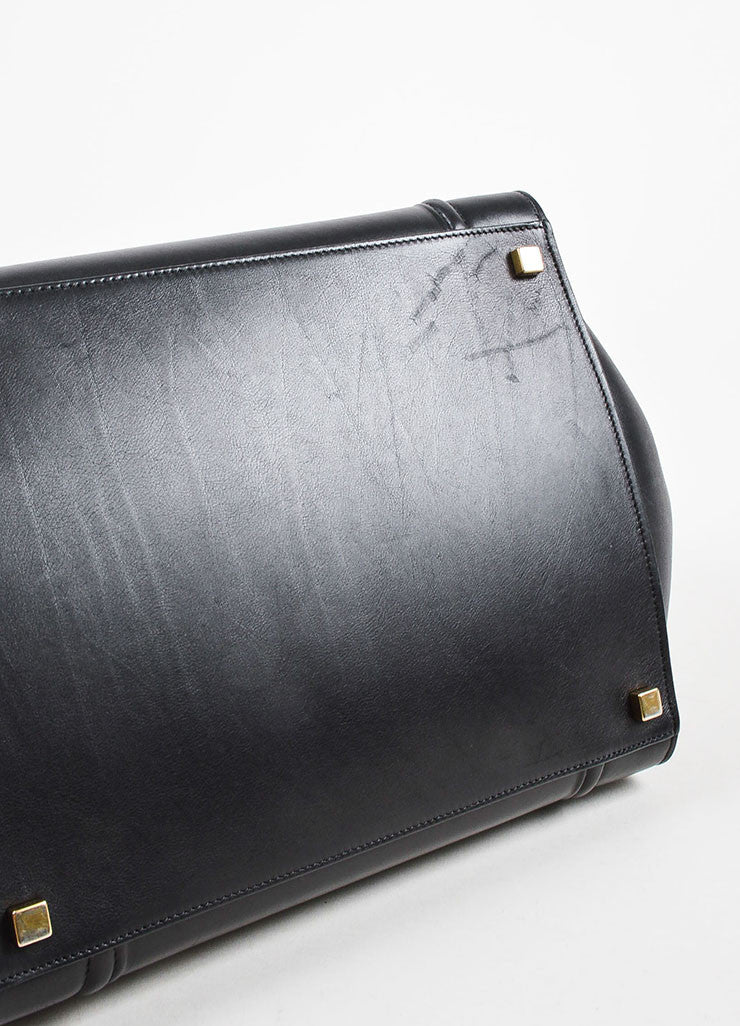 "Black Celine Leather Medium ""Phantom"" Luggate Tote Bag Detail"