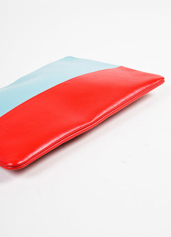 "Celine Light Blue Red Lambskin Bicolor ""Solo"" Zip Pouch outer"