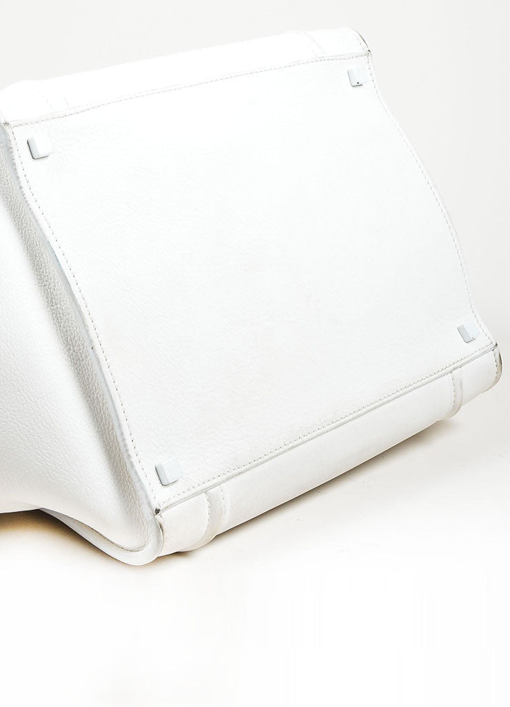 "White Celine Leather Braid Pull ""Small Phantom Luggage"" Tote Bottom View"