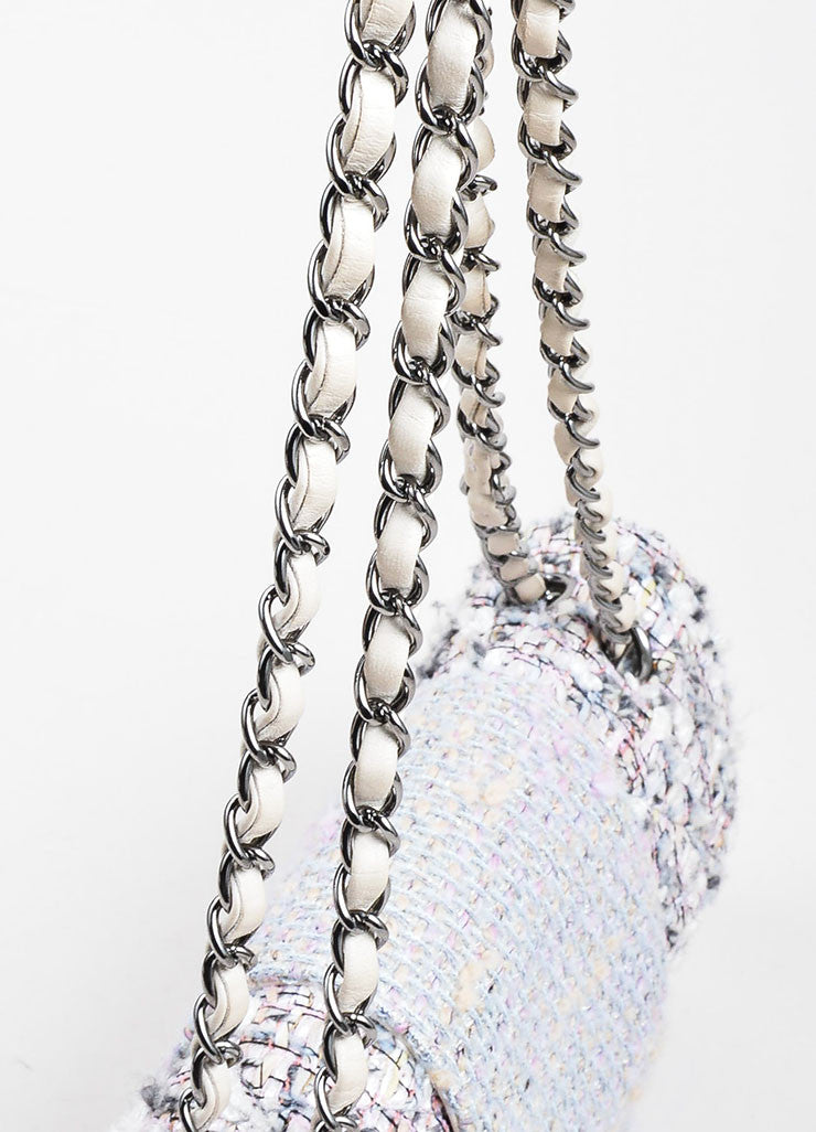 "Multicolor Chanel Pastel Tweed Classic ""Fantasy"" 'CC' Bag Detail 2"