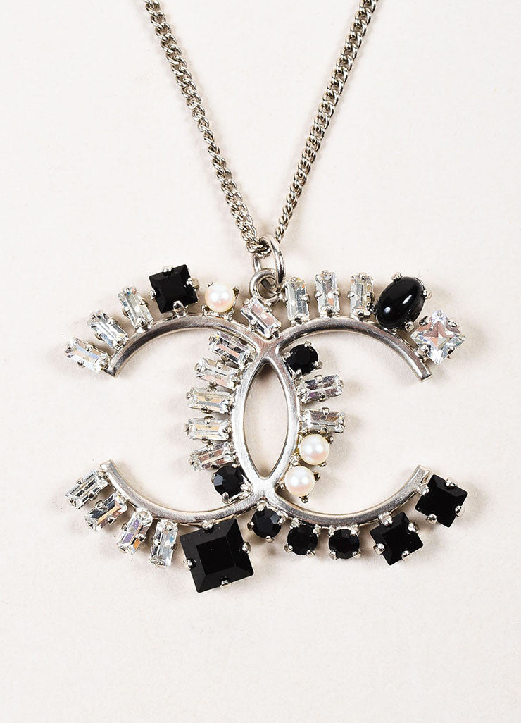 Silver Toned, Black Crystal, and Faux Pearl Chanel 'CC' Logo Pendant Necklace Detail 2