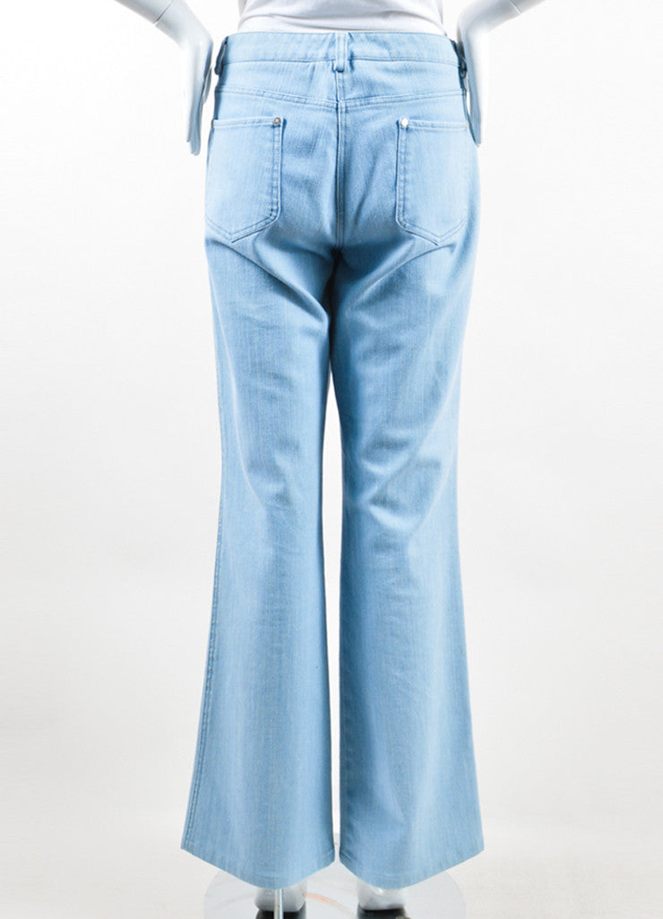 Chanel  Light Blue Wash Denim Pocket Boot Cut Jeans Backview