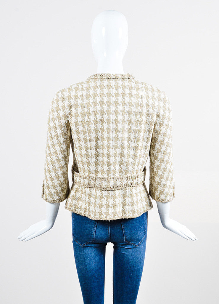 Cream and Taupe Chanel Silk Woven Houndstooth Elbow Sleeve Crop Jacket Backview