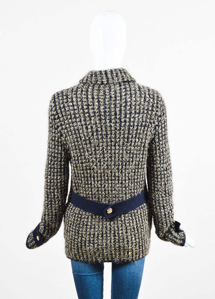Chanel Gold and Navy Metallic Woven Cashmere Sequin Jacket Backview