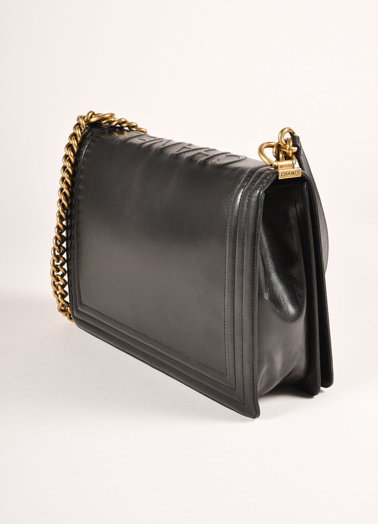 "Chanel Black and Brass Toned Smooth Leather Chain Strap ""Le Boy"" Flap Bag Sideview"