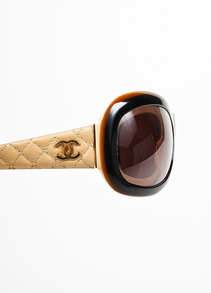 Chanel Black, Brown, and Beige Lambskin Leather Quilted Arm Sunglasses Detail