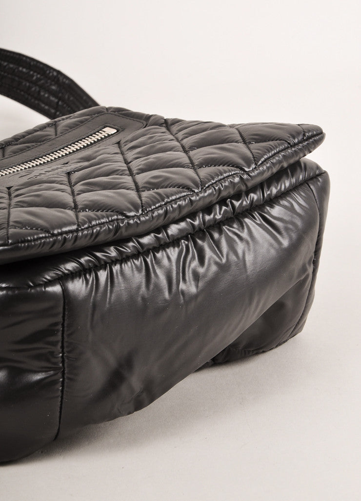 Chanel Black Nylon Coco Cocoon Puffer Messenger Crossbody Bag Bottom View