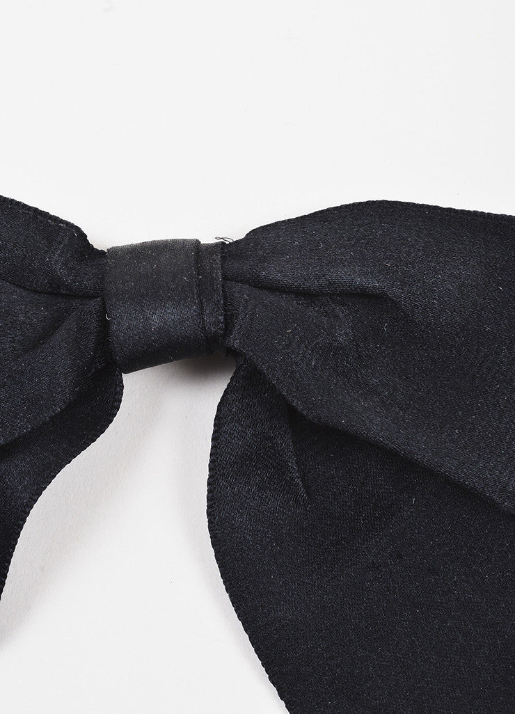 Chanel Black Satin Oversized Bow Tie Brooch Pin Detail