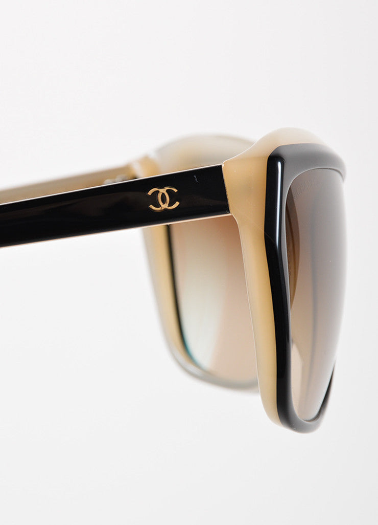 "Chanel Black and Taupe Plastic Gradient Lens ""5153"" Sunglasses Detail"