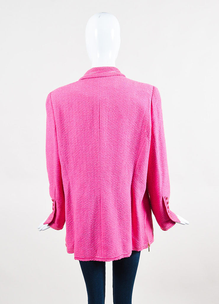 Chanel Bubblegum Pink Pulled Tweed Woven Trim Notch Lapel Jacket Backview