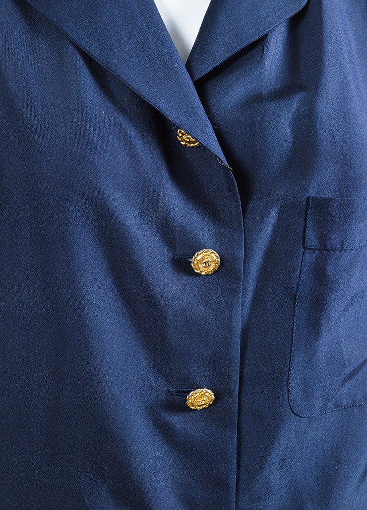 Chaenl Navy Blue Silky Gold Toned 'CC' Button Sleeveless Blouse Top Detail