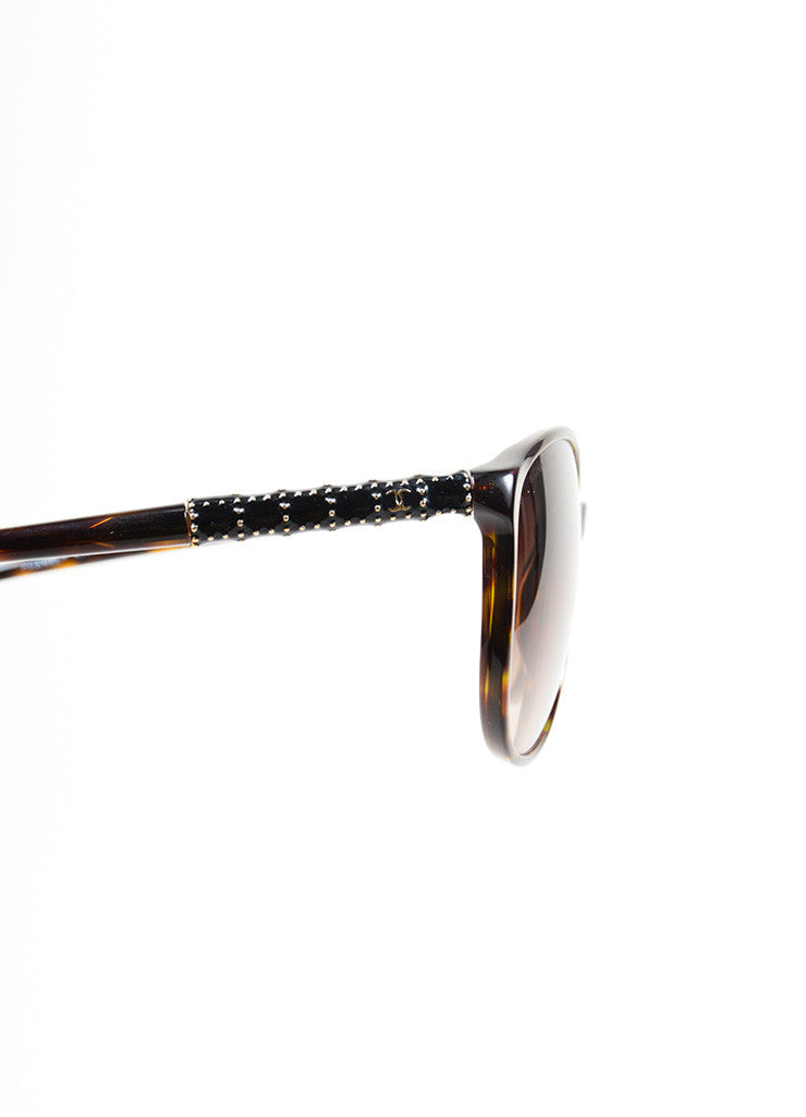 "Brown Tortoise and Gold Toned Chanel Embellished Arms Rounded ""5207"" Sunglasses Detail"
