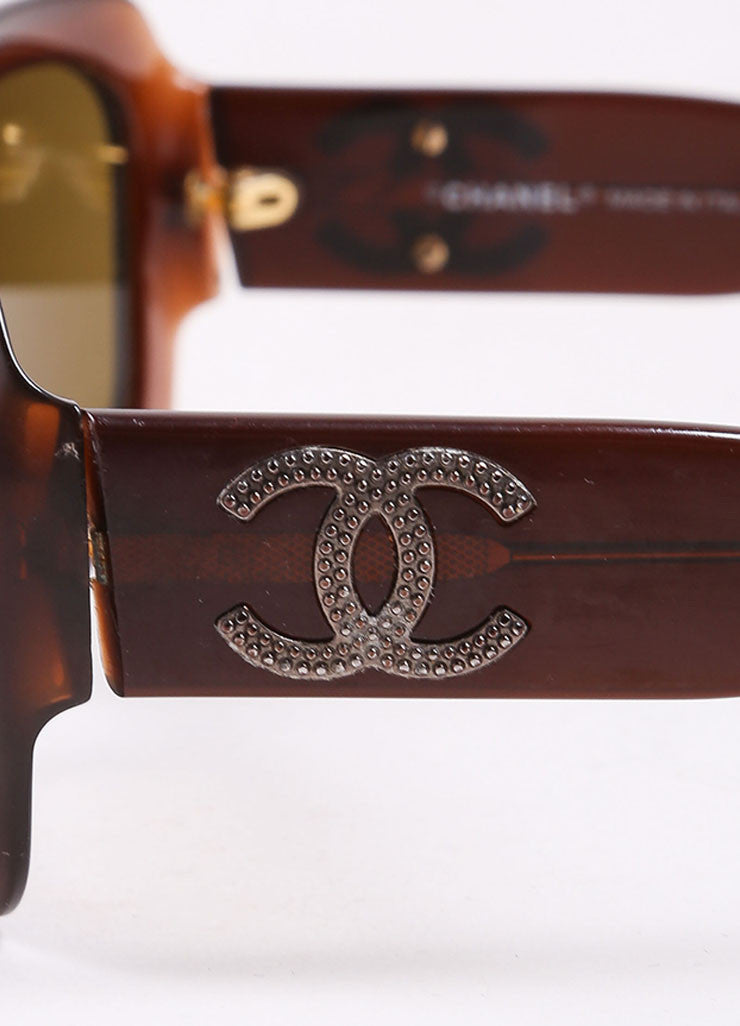 "Chanel Brown Translucent Oval ""CC"" Logo ""5102"" Sunglasses Detail"