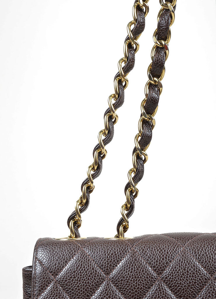 Chocolate Brown Chanel GHW Caviar Leather Chain Strap Classic Jumbo Flap Bag Detail 2