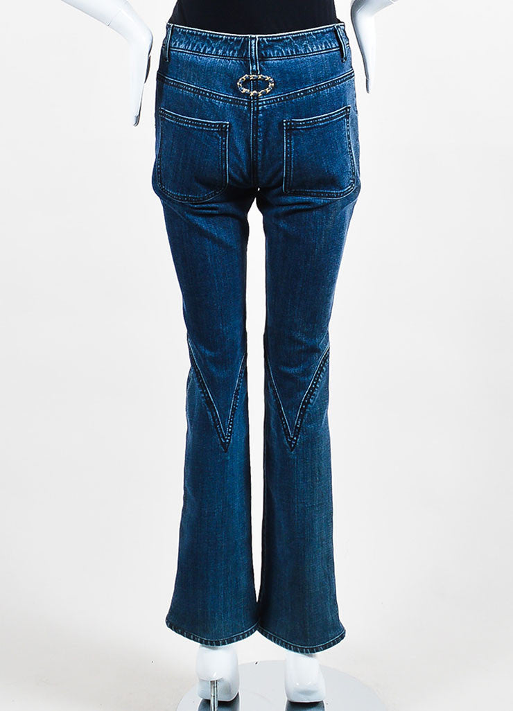 Chanel Denim Blue Top Stitched Knee Four Pocket Straight Leg Jeans Backview
