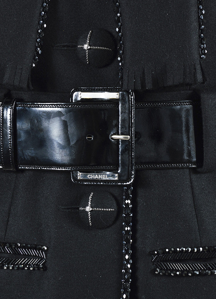 Chanel Black Wool Bead Embellished Belted Short Sleeve Coat Detail