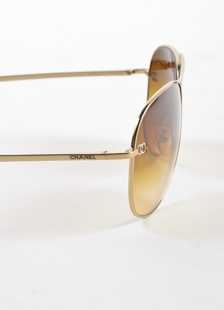 "Chanel Gold Toned Metal Brown Gradient Lens ""CC"" Aviator ""4189"" Sunglasses Detail"