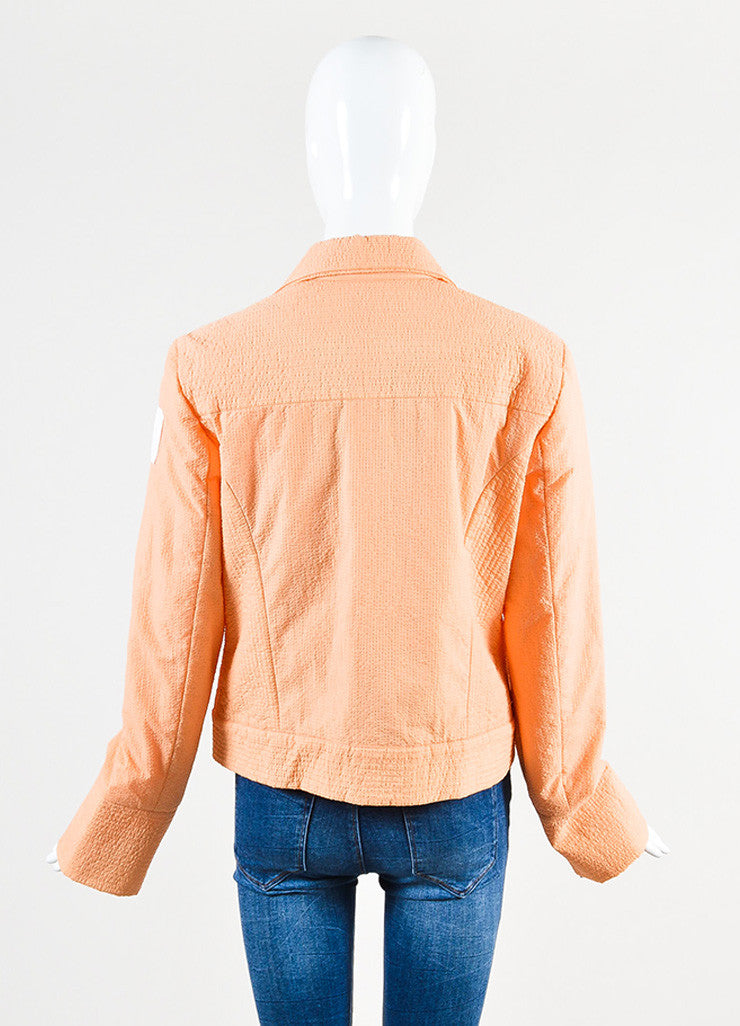 "Chanel ""Apricot"" Orange and White Seersucker Jacket Backview"