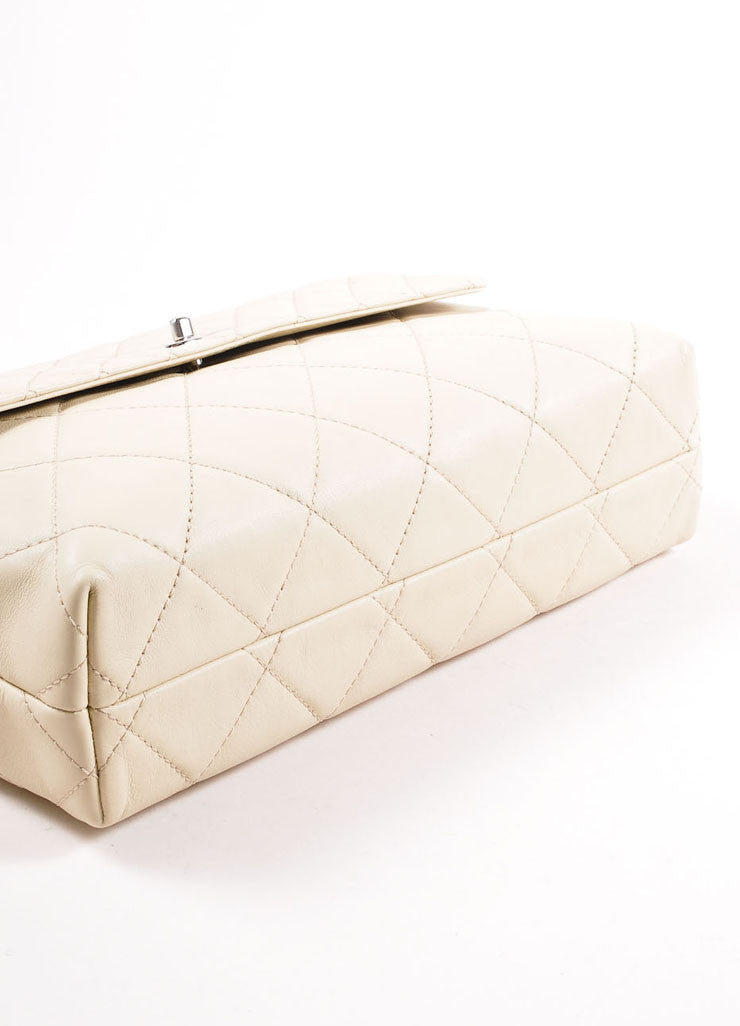 "Chanel Light Beige Calfskin Leather ""Quilted in the Business"" Flap Bag Bottom View"