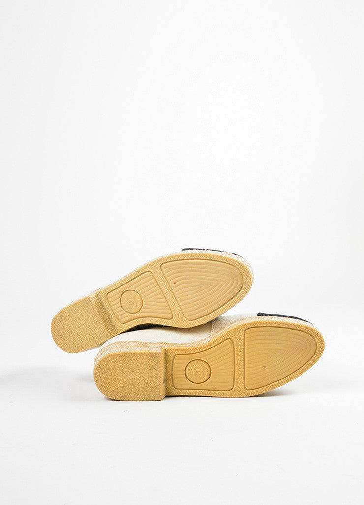 Cream and Black Chanel Canvas Cap Toe 'CC' Logo Espadrille Flats Outsoles