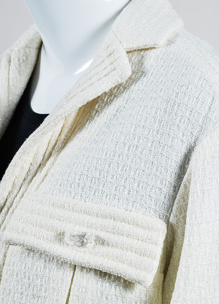 Cream Chanel Wool Woven Knit Sparkle Crop Sleeve Jacket Detail