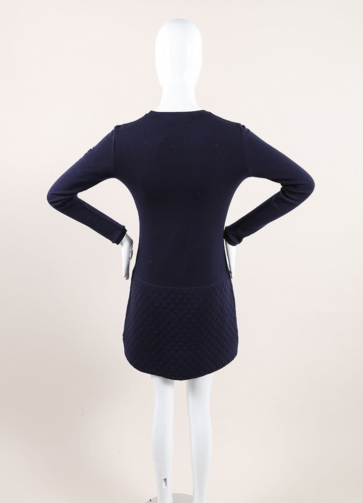 Chanel Navy Blue Wool Quilted Knit Drop Waist Long Sleeve Dress Backview