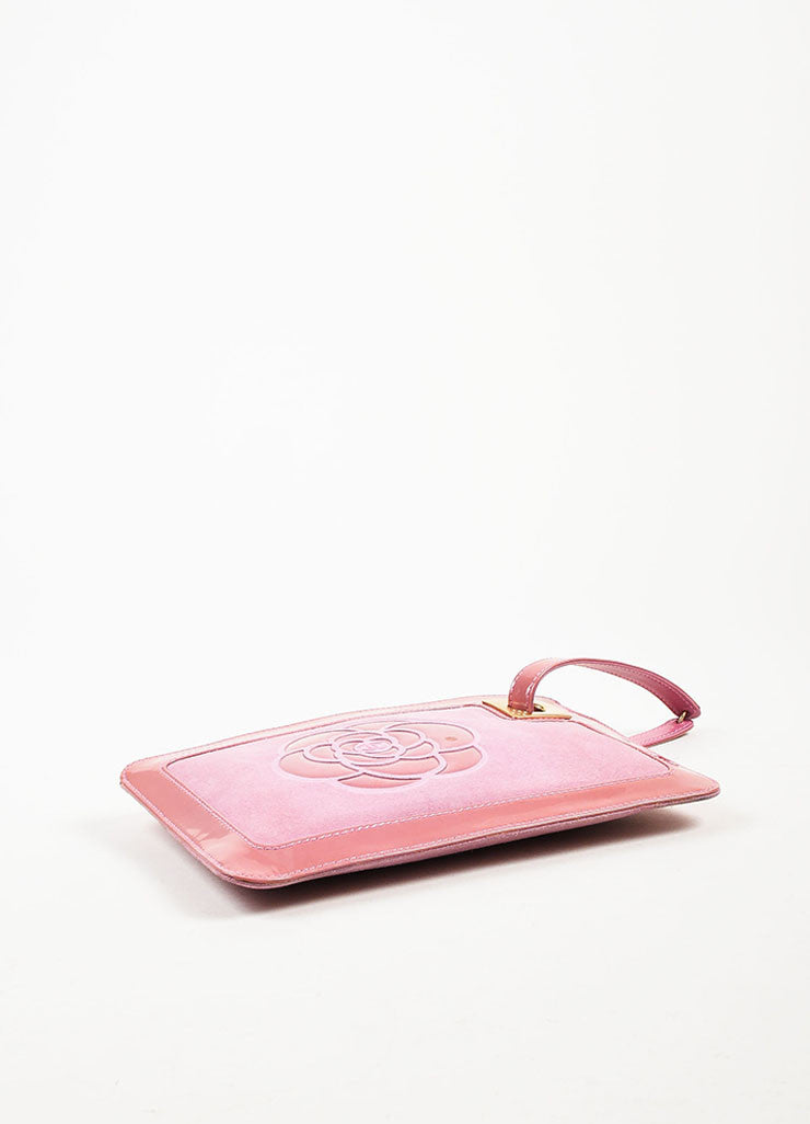Chanel Pink Suede Patent Leather Camellia Zip Wristlet Clutch Bag Bottom View