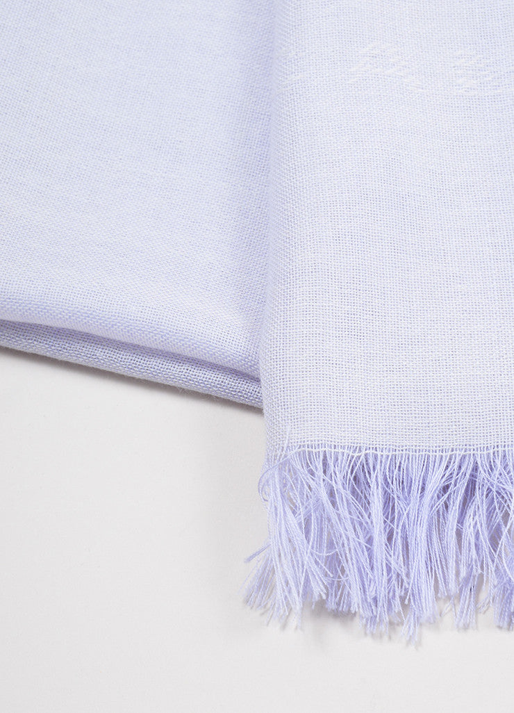 "Purple and White Chanel Cashmere Lightweight Fringe Trim ""CC"" Pashmina Scarf Detail 2"