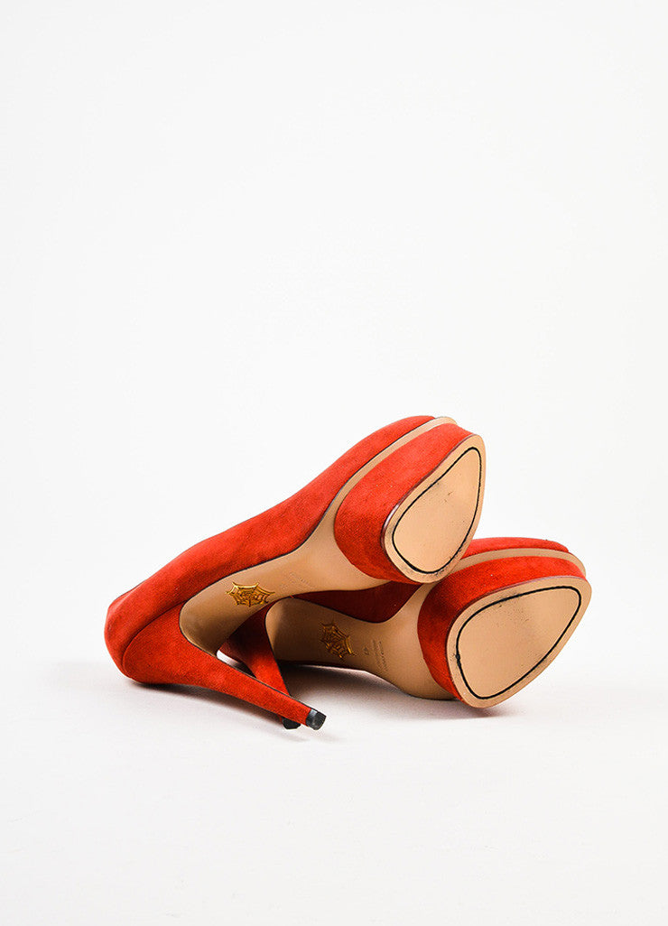 "Charlotte Olympia Red and Pink Suede ""Delphine"" Heart Peep Toe Platform Heels outsoles"