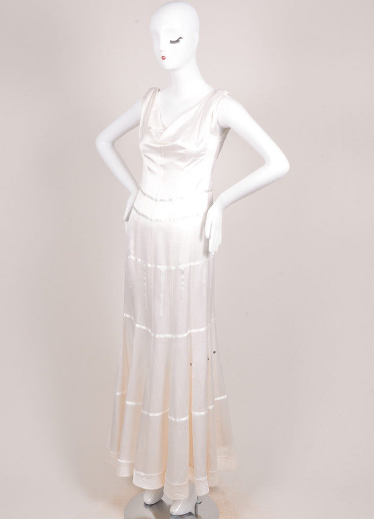 Christian Dior Cream Silk Satin Seamed Sleeveless Cowl Neck Gown Sideview