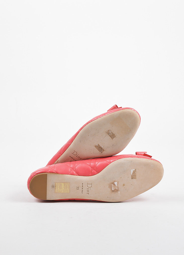 "Christian Dior Coral ""Cannage"" Leather Bow Ballerina Flats Outsoles"