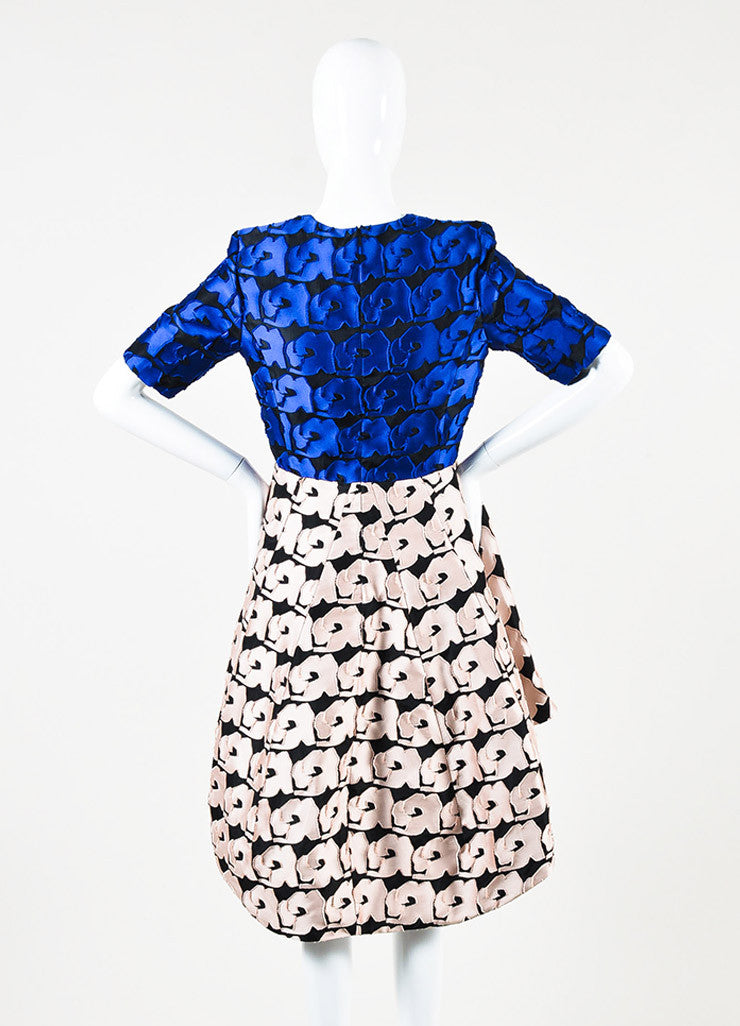 Christian Dior Blue and Pink Petal Short Sleeve High Low Dress Backview