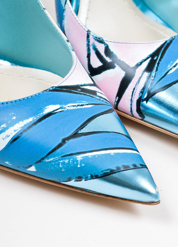 "Metallic Blue Painted Leather Christian Dior ""Cherie"" Pumps Detail"