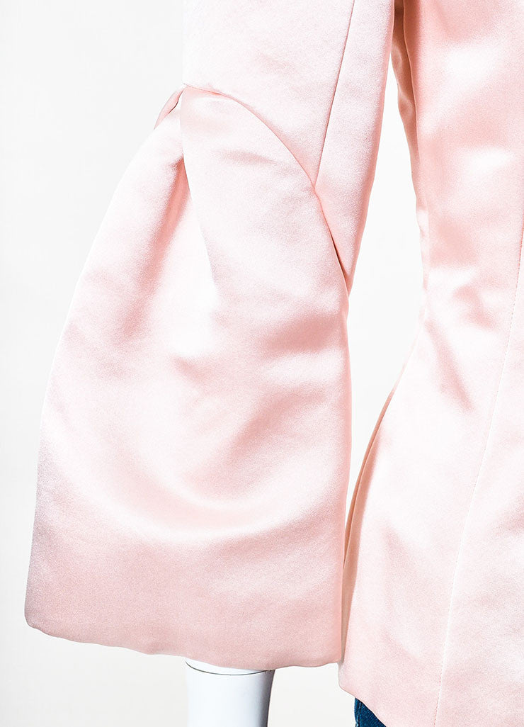 Light Pink Christian Dior Satin Silk Pleated Sleeve Blouse Detail