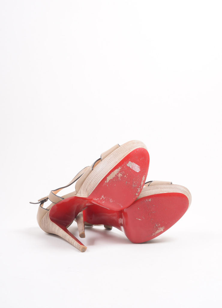 "Christian Louboutin Tan Leather Stacked Platform ""Sporting"" Sandals Outsoles"