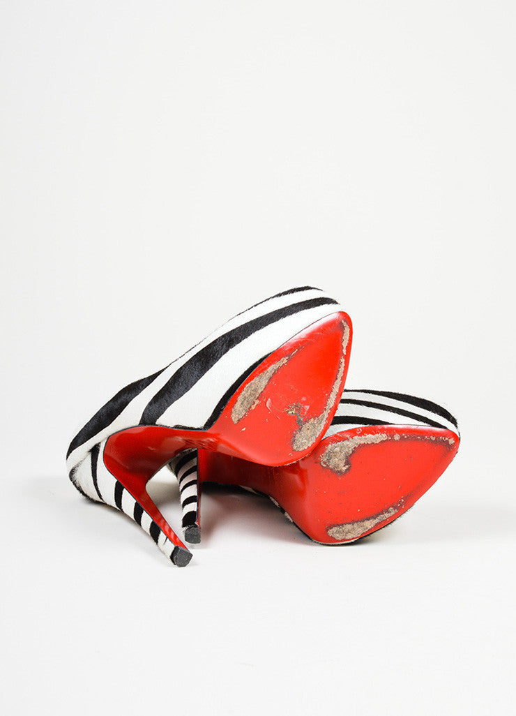 "Black and White Christian Louboutin Pony Hair Zebra Print ""Daffodile 160"" Pumps  Outsoles"